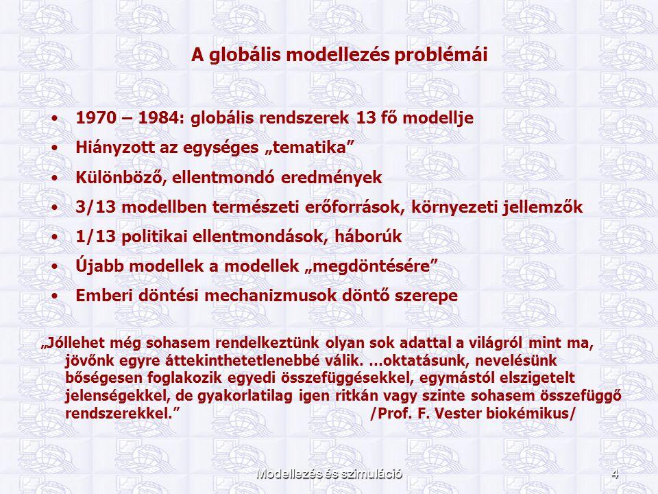 """Modellezés és szimuláció4 A globális modellezés problémái 1970 – 1984: globális rendszerek 13 fő modellje Hiányzott az egységes """"tematika"""" Különböző,"""