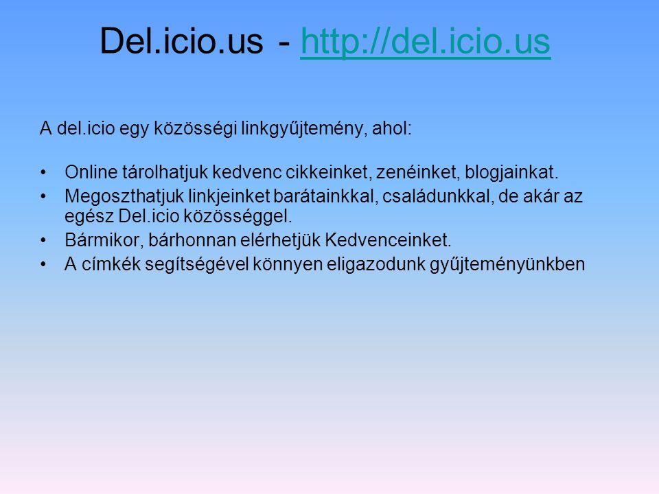 Del.icio.us Delicious = finom, ízletes Közösségi linkek Mi is ez az egész