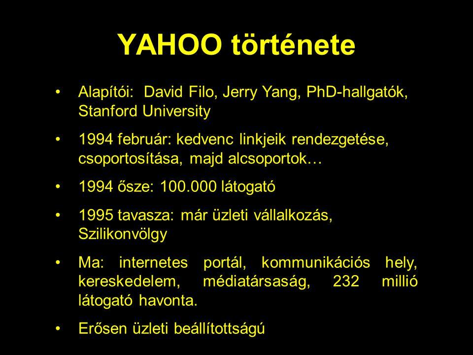 YAHOO története Alapítói: David Filo, Jerry Yang, PhD-hallgatók, Stanford University 1994 február: kedvenc linkjeik rendezgetése, csoportosítása, majd alcsoportok… 1994 ősze: 100.000 látogató 1995 tavasza: már üzleti vállalkozás, Szilikonvölgy Ma: internetes portál, kommunikációs hely, kereskedelem, médiatársaság, 232 millió látogató havonta.