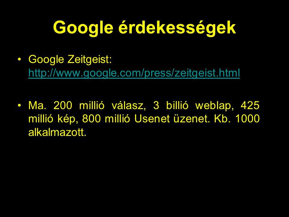 Google érdekességek Google Zeitgeist: http://www.google.com/press/zeitgeist.html http://www.google.com/press/zeitgeist.html Ma.