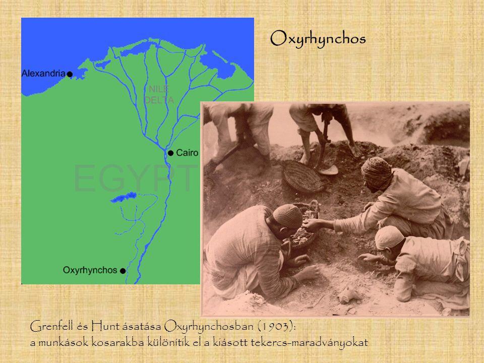 Grenfell és Hunt ásatása Oxyrhynchosban (1903): a munkások kosarakba különítik el a kiásott tekercs-maradványokat Oxyrhynchos