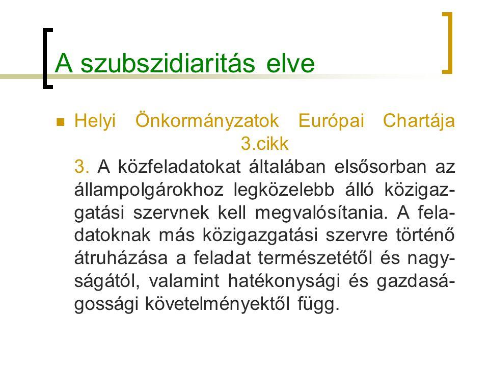 A szubszidiaritás elve Helyi Önkormányzatok Európai Chartája 3.cikk 3. A közfeladatokat általában elsősorban az állampolgárokhoz legközelebb álló közi