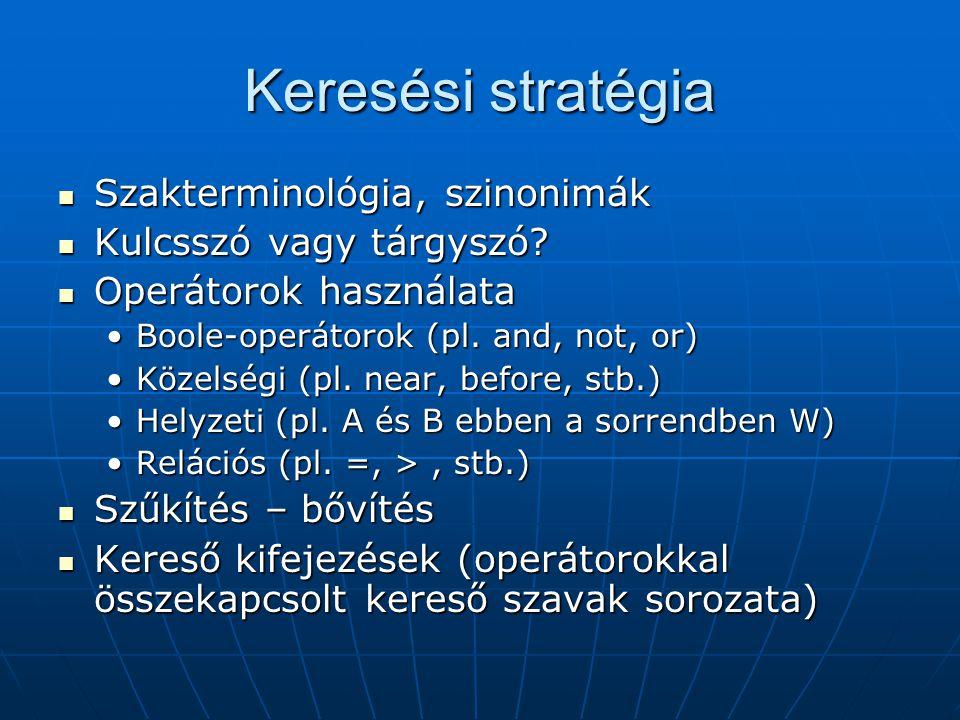 Keresési stratégia Szakterminológia, szinonimák Szakterminológia, szinonimák Kulcsszó vagy tárgyszó.
