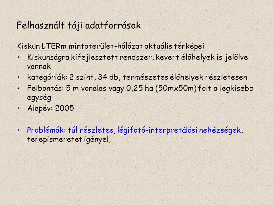 Felhasznált táji adatforrások Kiskun LTERm mintaterület-hálózat aktuális térképei Kiskunságra kifejlesztett rendszer, kevert élőhelyek is jelölve vann