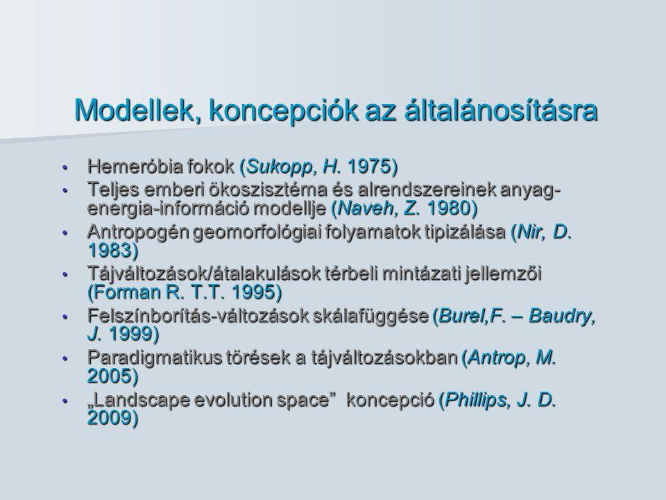 Modellek, koncepciók az általánosításra Hemeróbia fokok (Sukopp, H.