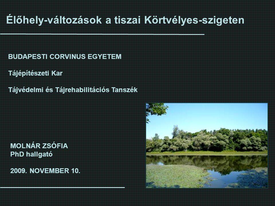 Élőhely-változások a tiszai Körtvélyes-szigeten MOLNÁR ZSÓFIA PhD hallgató 2009. NOVEMBER 10. BUDAPESTI CORVINUS EGYETEM Tájépítészeti Kar Tájvédelmi