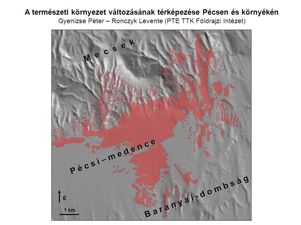 Pécs környékének felszínborítottsága az ember átalakító tevékenysége nélkül (elméleti rekonstrukció) 1 = erdő 2 = rét 3 = mocsár 4 = vízfolyás