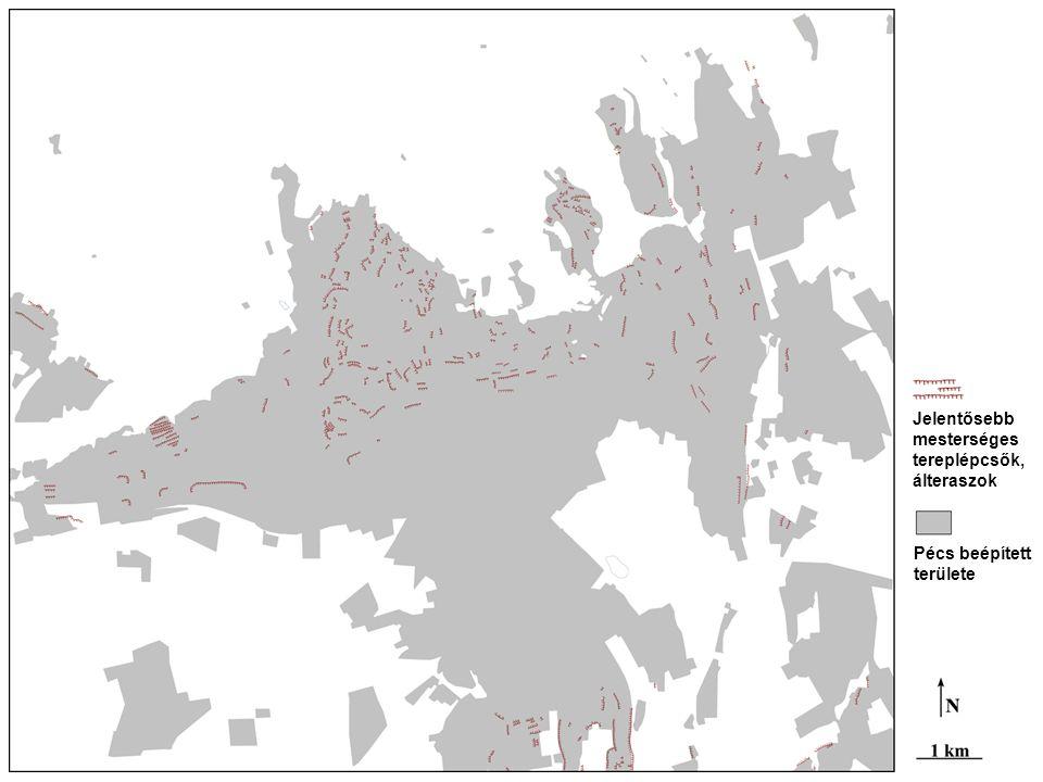 A nagy magasságú teraszok (mezőgazdasági, építési és összes) tszf. magasságának megoszlása
