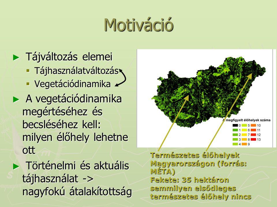 Motiváció ► Tájváltozás elemei  Tájhasználatváltozás  Vegetációdinamika ► A vegetációdinamika megértéséhez és becsléséhez kell: milyen élőhely lehet