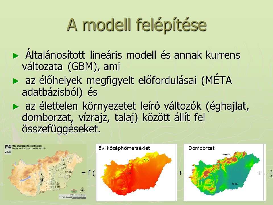 A modell felépítése ► Általánosított lineáris modell és annak kurrens változata (GBM), ami ► az élőhelyek megfigyelt előfordulásai (MÉTA adatbázisból)