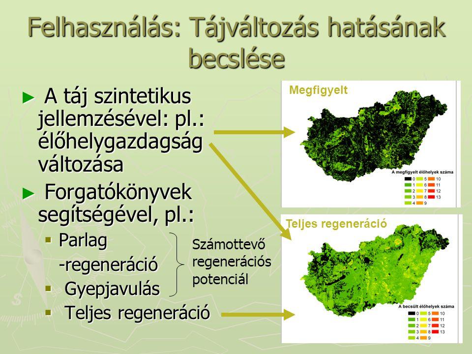 Teljes regeneráció Felhasználás: Tájváltozás hatásának becslése ► A táj szintetikus jellemzésével: pl.: élőhelygazdagság változása ► Forgatókönyvek se