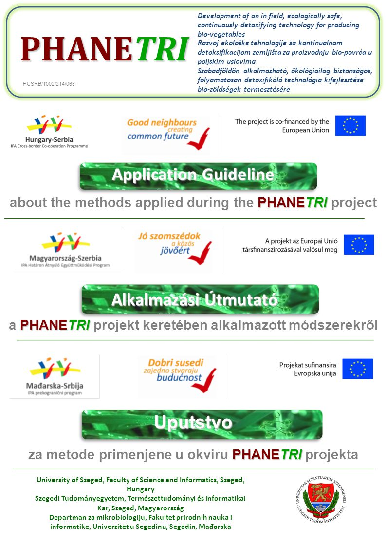 Application Guideline PHANETRI about the methods applied during the PHANETRI project Uputstvo PHANETRI za metode primenjene u okviru PHANETRI projekta