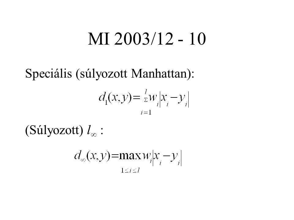 MI 2003/12 - 10 Speciális (súlyozott Manhattan): (Súlyozott) l  :