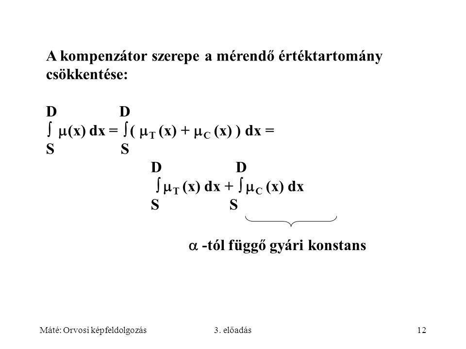 Máté: Orvosi képfeldolgozás3. előadás12 A kompenzátor szerepe a mérendő értéktartomány csökkentése: D   (x) dx =  (  T (x) +  C (x) ) dx = S D D