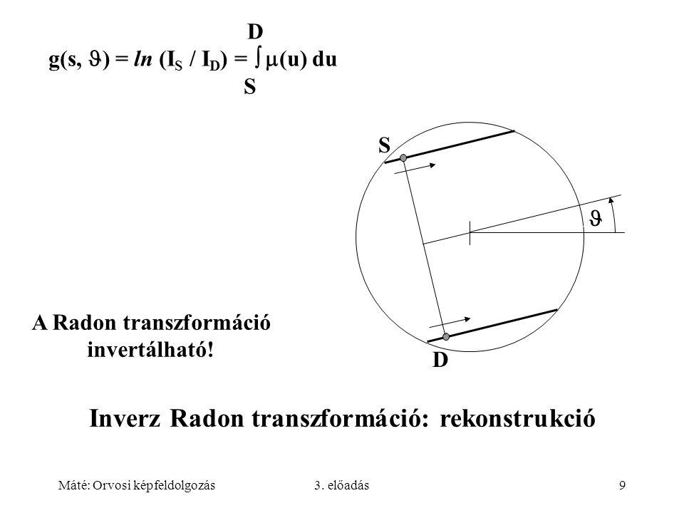 Máté: Orvosi képfeldolgozás3. előadás9 D g(s, ) = ln (I S / I D ) =   (u) du S A Radon transzformáció invertálható! Inverz Radon transzformáció: rek