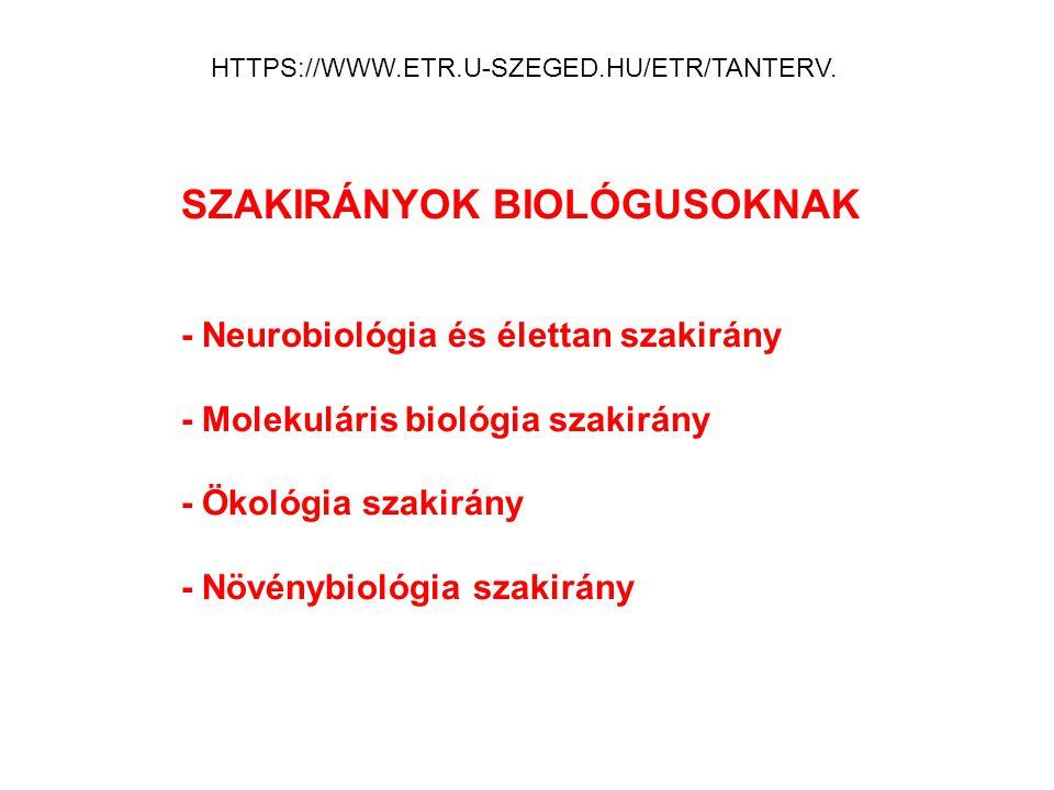 HTTPS://WWW.ETR.U-SZEGED.HU/ETR/TANTERV. SZAKIRÁNYOK BIOLÓGUSOKNAK - Neurobiológia és élettan szakirány - Molekuláris biológia szakirány - Ökológia sz