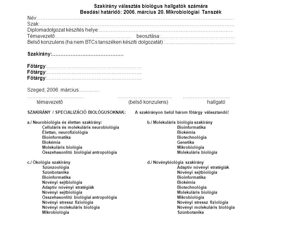 Szakirány választás biológus hallgatók számára Beadási határidő: 2006. március 20. Mikrobiológiai Tanszék Név:……………………………………………………………………………………………………….