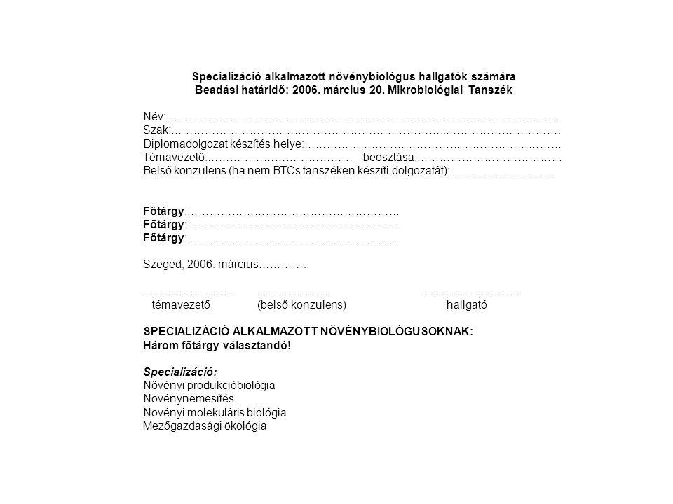 Specializáció alkalmazott növénybiológus hallgatók számára Beadási határidő: 2006. március 20. Mikrobiológiai Tanszék Név:…………………………………………………………………………