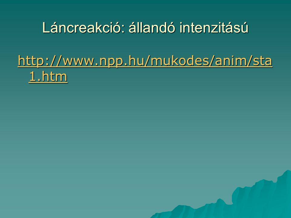 Láncreakció: állandó intenzitású http://www.npp.hu/mukodes/anim/sta 1.htm http://www.npp.hu/mukodes/anim/sta 1.htm