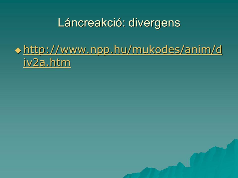 Láncreakció: divergens  http://www.npp.hu/mukodes/anim/d iv2a.htm http://www.npp.hu/mukodes/anim/d iv2a.htm http://www.npp.hu/mukodes/anim/d iv2a.htm