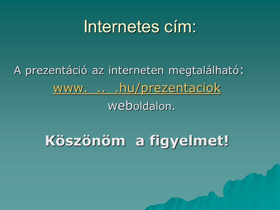Internetes cím: A prezentáció az interneten megtalálható : www....hu/prezentaciok www....hu/prezentaciok web oldalon.
