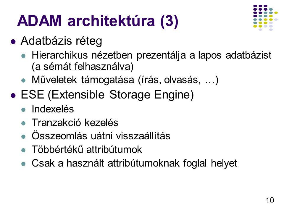 10 ADAM architektúra (3) Adatbázis réteg Hierarchikus nézetben prezentálja a lapos adatbázist (a sémát felhasználva) Műveletek támogatása (írás, olvas