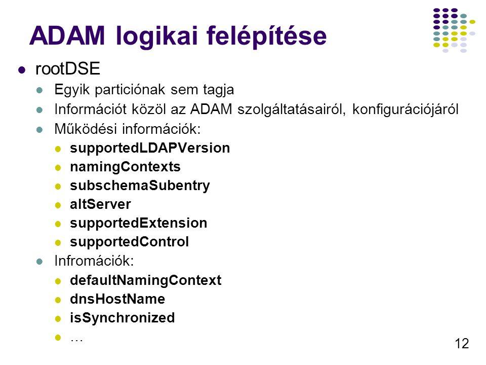 12 ADAM logikai felépítése rootDSE Egyik particiónak sem tagja Információt közöl az ADAM szolgáltatásairól, konfigurációjáról Működési információk: su
