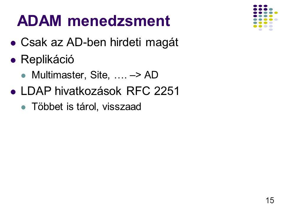 15 ADAM menedzsment Csak az AD-ben hirdeti magát Replikáció Multimaster, Site, …. –> AD LDAP hivatkozások RFC 2251 Többet is tárol, visszaad