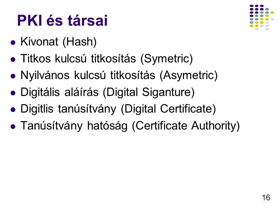 16 PKI és társai Kivonat (Hash) Titkos kulcsú titkosítás (Symetric) Nyilvános kulcsú titkosítás (Asymetric) Digitális aláírás (Digital Siganture) Digi