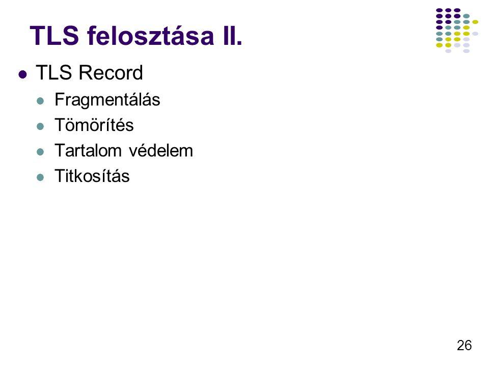 26 TLS felosztása II. TLS Record Fragmentálás Tömörítés Tartalom védelem Titkosítás