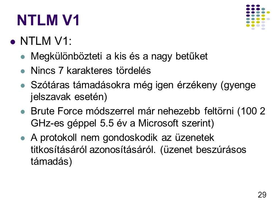 29 NTLM V1 NTLM V1: Megkülönbözteti a kis és a nagy betűket Nincs 7 karakteres tördelés Szótáras támadásokra még igen érzékeny (gyenge jelszavak eseté