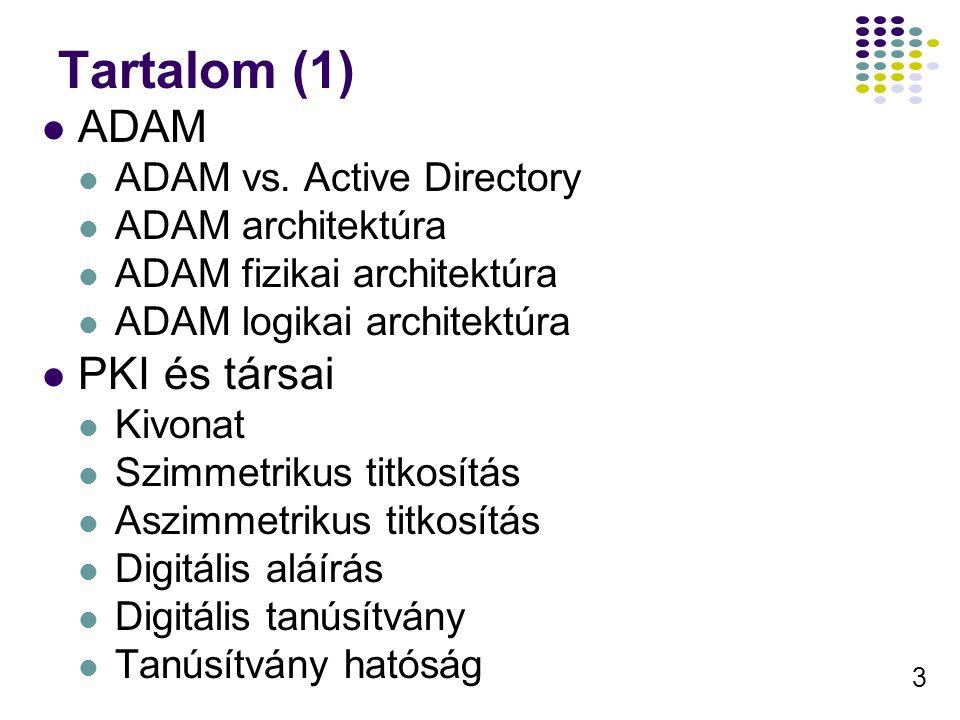 3 Tartalom (1) ADAM ADAM vs. Active Directory ADAM architektúra ADAM fizikai architektúra ADAM logikai architektúra PKI és társai Kivonat Szimmetrikus