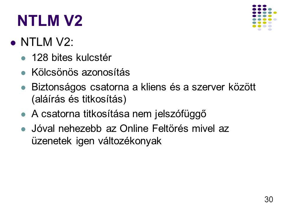 30 NTLM V2 NTLM V2: 128 bites kulcstér Kölcsönös azonosítás Biztonságos csatorna a kliens és a szerver között (aláírás és titkosítás) A csatorna titko