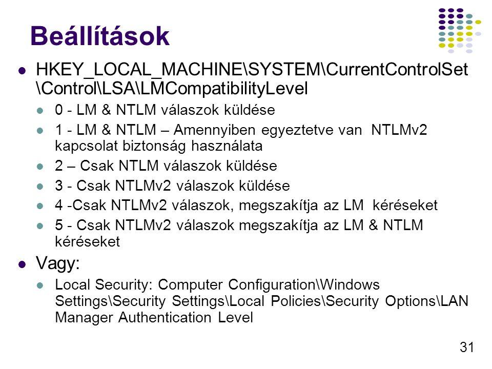 31 Beállítások HKEY_LOCAL_MACHINE\SYSTEM\CurrentControlSet \Control\LSA\LMCompatibilityLevel 0 - LM & NTLM válaszok küldése 1 - LM & NTLM – Amennyiben