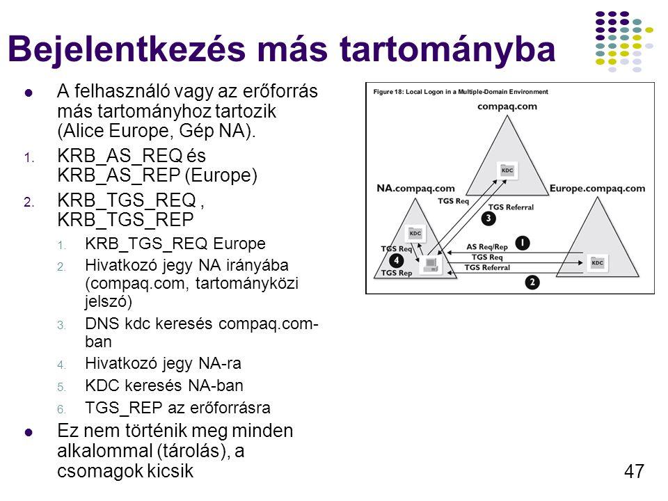 47 Bejelentkezés más tartományba A felhasználó vagy az erőforrás más tartományhoz tartozik (Alice Europe, Gép NA). 1. KRB_AS_REQ és KRB_AS_REP (Europe