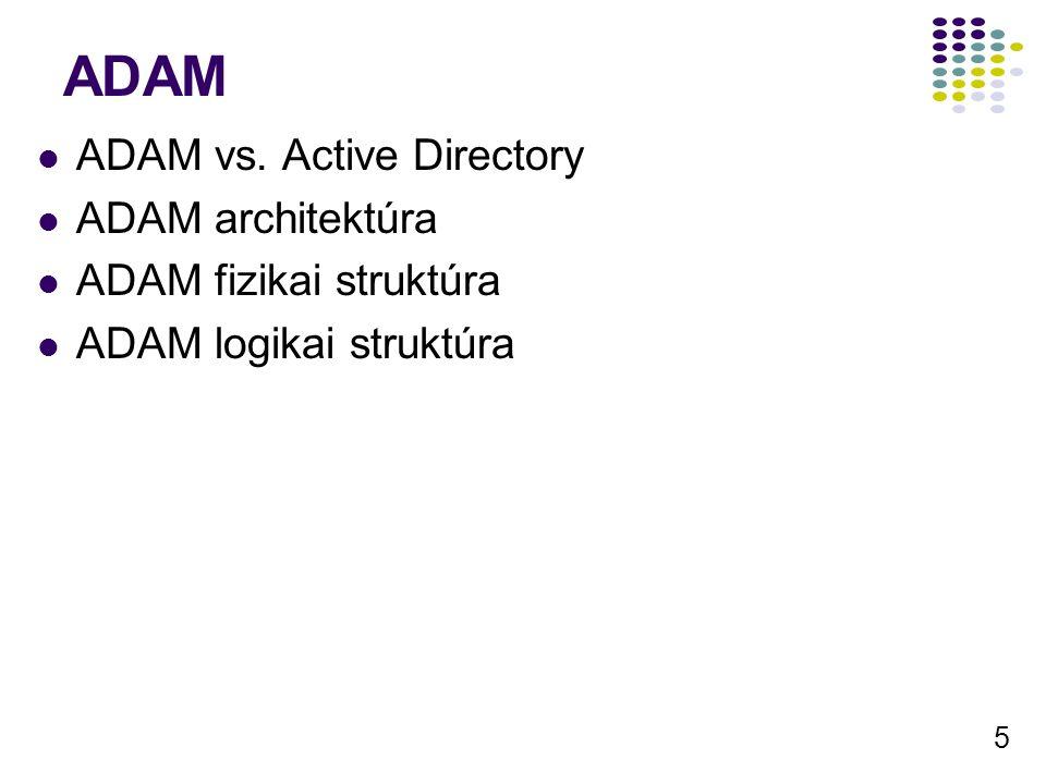 5 ADAM ADAM vs. Active Directory ADAM architektúra ADAM fizikai struktúra ADAM logikai struktúra
