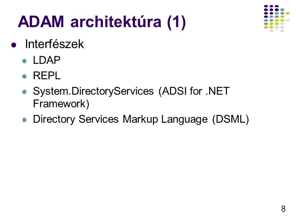 8 ADAM architektúra (1) Interfészek LDAP REPL System.DirectoryServices (ADSI for.NET Framework) Directory Services Markup Language (DSML)
