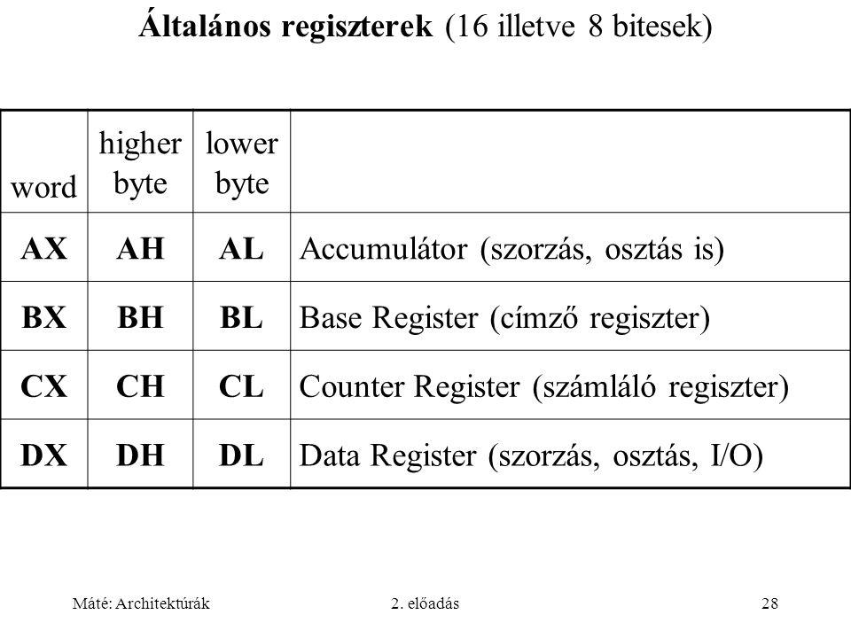 Máté: Architektúrák2. előadás28 Általános regiszterek (16 illetve 8 bitesek) word higher byte lower byte AXAHALAccumulátor (szorzás, osztás is) BXBHBL