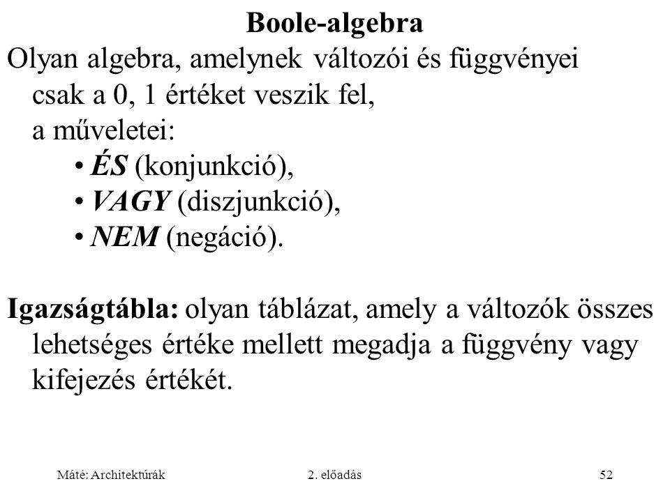 Máté: Architektúrák2. előadás52 Boole-algebra Olyan algebra, amelynek változói és függvényei csak a 0, 1 értéket veszik fel, a műveletei: ÉS (konjunkc