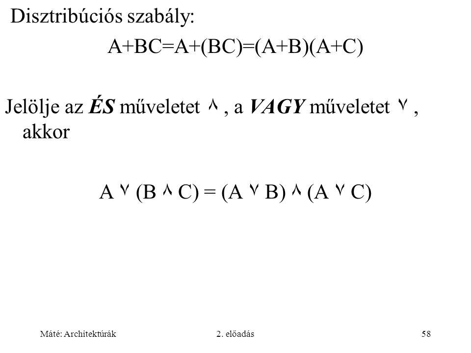 Máté: Architektúrák2. előadás58 Disztribúciós szabály: A+BC=A+(BC)=(A+B)(A+C) Jelölje az ÉS műveletet ٨, a VAGY műveletet ٧, akkor A ٧ (B ٨ C) = (A ٧