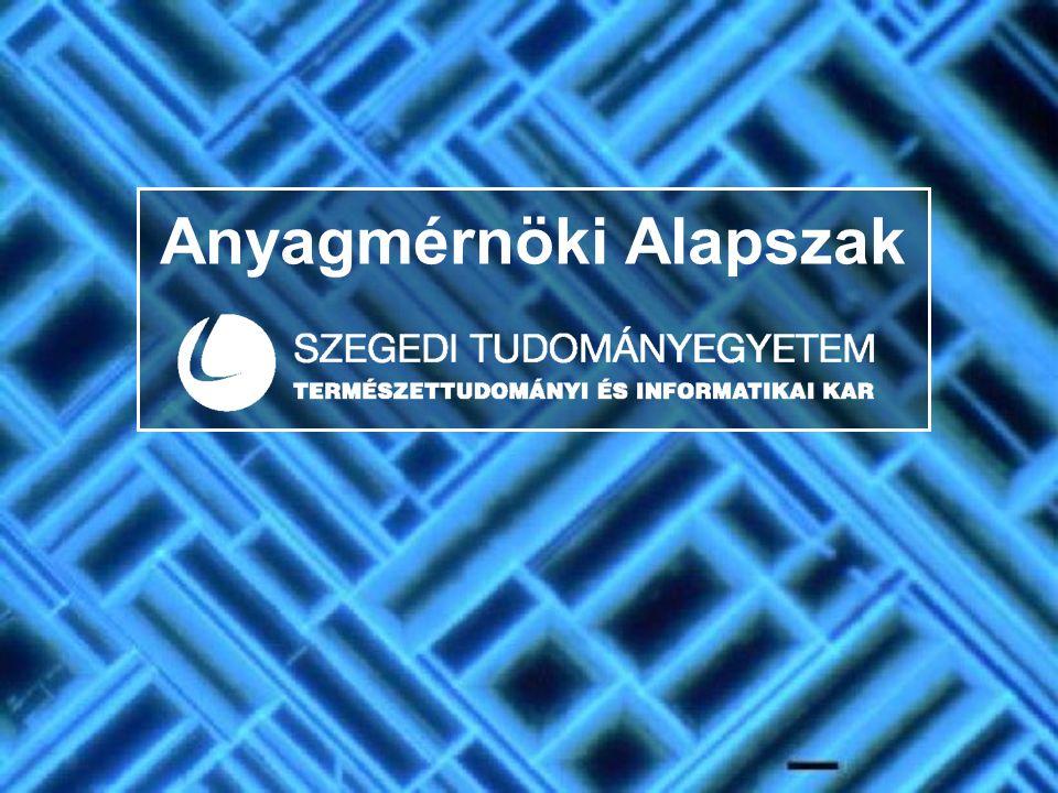  A BSc képzés  Időtartama: 7 félév  Sikeres teljesítés feltételei: - 210 kreditpont - 210 kreditpont - általános nyelvvizsga követelmények - általános nyelvvizsga követelmények  Választható szakirány: anyagtervező  Az (alap)szak oktatását végző Tanszékcsoportok  Kémiai Tanszékcsoport  Fizikus Tanszékcsoport ANYAGMÉRNÖK KÉPZÉS A SZEGEDI TUDOMÁNYEGYETEMEN