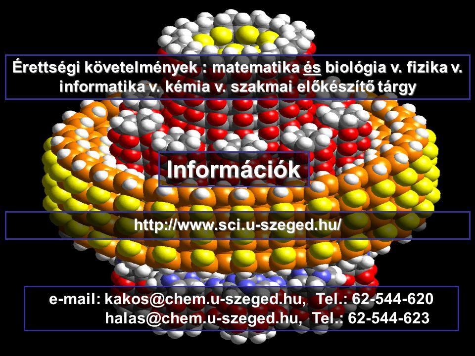 http://www.sci.u-szeged.hu/ e-mail: kakos@chem.u-szeged.hu, Tel.: 62-544-620 halas@chem.u-szeged.hu, Tel.: 62-544-623 Információk Érettségi követelmények : matematika és biológia v.