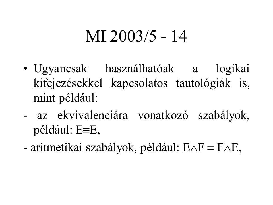 MI 2003/5 - 14 Ugyancsak használhatóak a logikai kifejezésekkel kapcsolatos tautológiák is, mint például: - az ekvivalenciára vonatkozó szabályok, például: E  E, - aritmetikai szabályok, például: E  F  F  E,