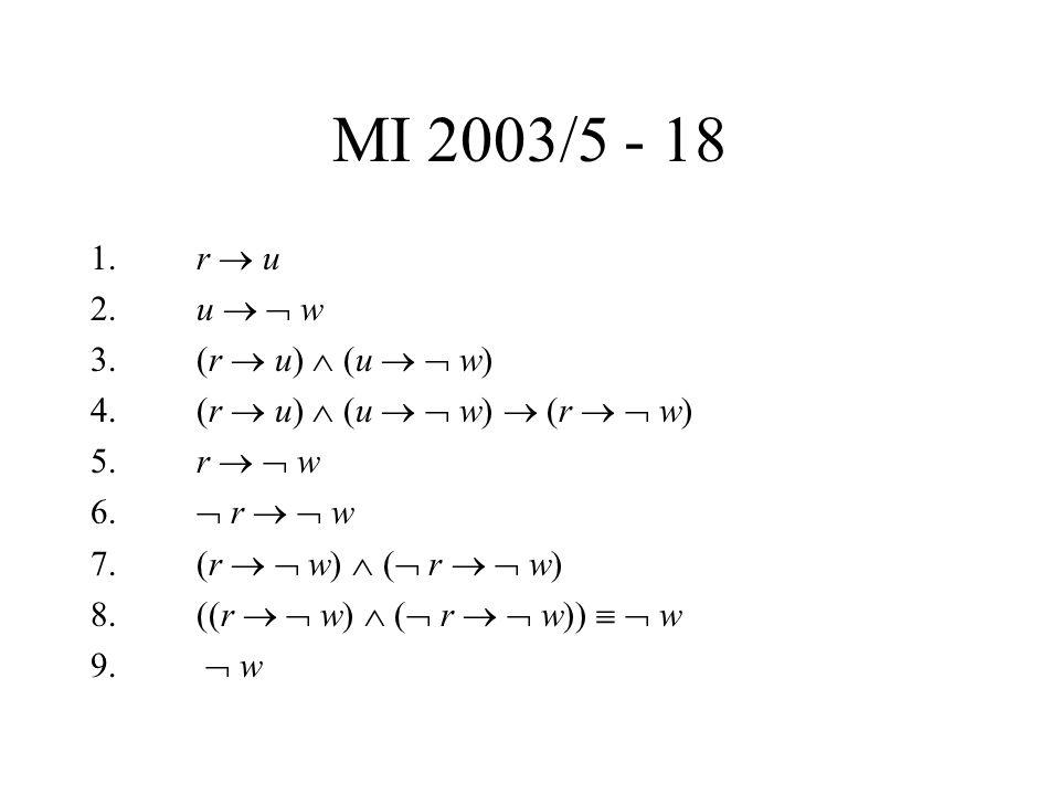 MI 2003/5 - 18 1. r  u 2. u   w 3. (r  u)  (u   w) 4. (r  u)  (u   w)  (r   w) 5. r   w 6.  r   w 7. (r   w)  (  r   w) 8. ((