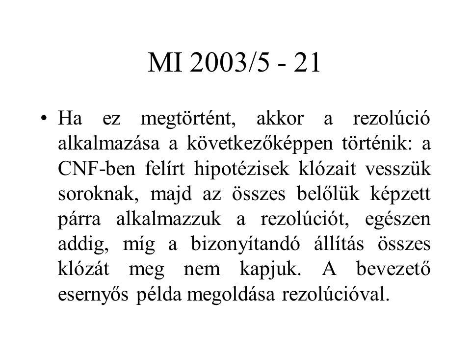 MI 2003/5 - 21 Ha ez megtörtént, akkor a rezolúció alkalmazása a következőképpen történik: a CNF-ben felírt hipotézisek klózait vesszük soroknak, majd az összes belőlük képzett párra alkalmazzuk a rezolúciót, egészen addig, míg a bizonyítandó állítás összes klózát meg nem kapjuk.