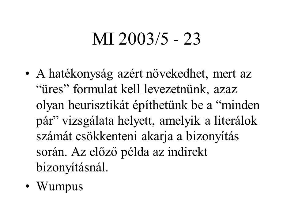 """MI 2003/5 - 23 A hatékonyság azért növekedhet, mert az """"üres"""" formulat kell levezetnünk, azaz olyan heurisztikát építhetünk be a """"minden pár"""" vizsgála"""