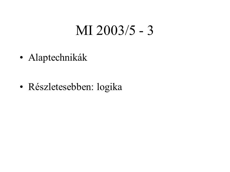 MI 2003/5 - 3 Alaptechnikák Részletesebben: logika