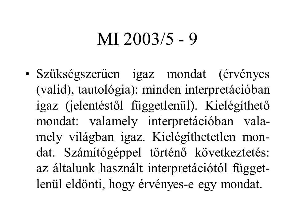 MI 2003/5 - 9 Szükségszerűen igaz mondat (érvényes (valid), tautológia): minden interpretációban igaz (jelentéstől függetlenül). Kielégíthető mondat: