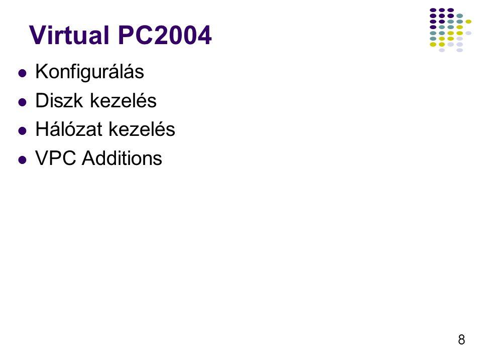 8 Virtual PC2004 Konfigurálás Diszk kezelés Hálózat kezelés VPC Additions