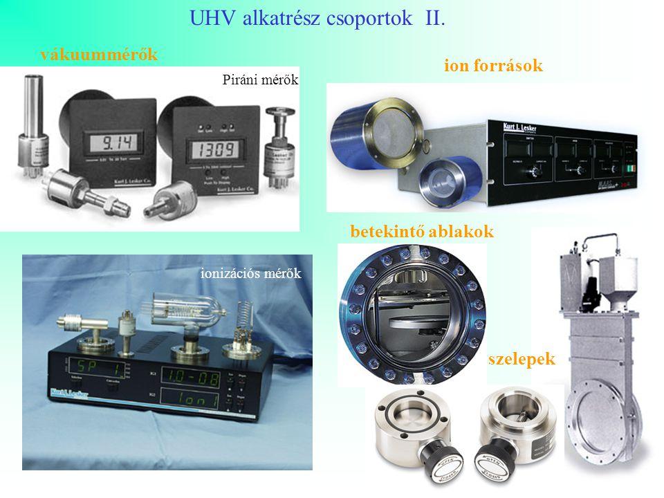 UHV alkatrész csoportok II. vákuummérők Piráni mérők ionizációs mérők ion források betekintő ablakok szelepek